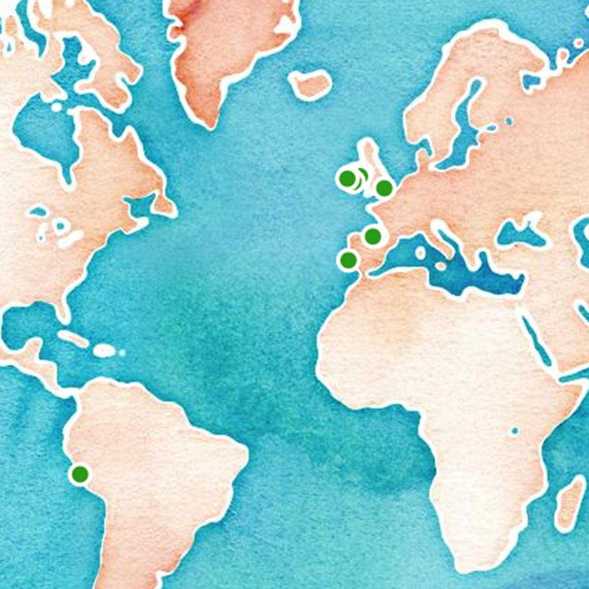 Mapa interactivo de destinos Hola Mundo